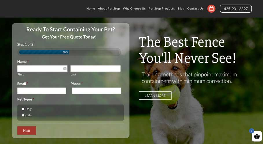 Puget Sound Pet Stop Website - Pet Fencing Website